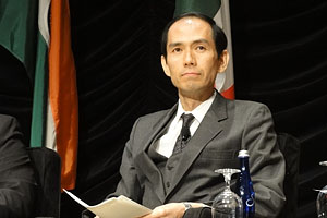 NEDO Executive Director Watanabe at the seat of the panel discussion