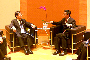 Meeting between Mr. Wasaka (left) and RADM (NS) Chew Men Leong (right)