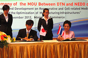 NEDO Executive Director Kurata and Director General Piramol Charoenpao of the Department of Trade Negotiations signing MOU