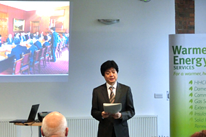 Executive Director Kuniyoshi speakintg at the event