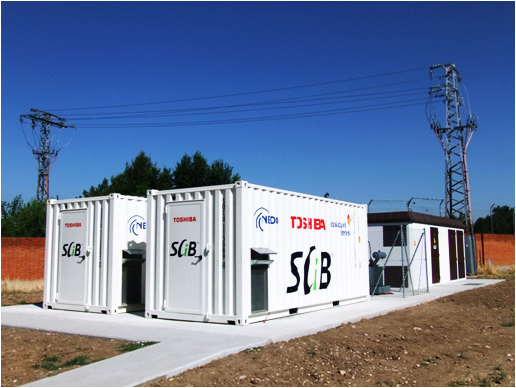 photo: The transportable battery system installed at an electrical substation in Alcalá de Henares.