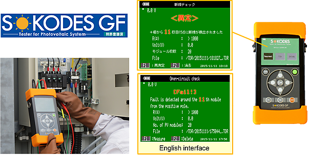 SOKODES GF in use (left) and an image of the display screen (right).