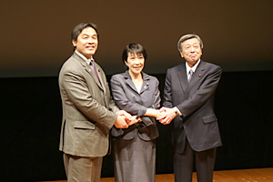 photo: (From the left)  Hiroshi Hase, Minister of Education, Sports, Science, and Technology; Sanae Takaichi, Minister for Internal Affairs and Communications; and, Motoo Hayashi, Minister of Economy, Trade, and Industry