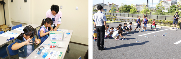 photo: Children building solar cars and conducting a trial run
