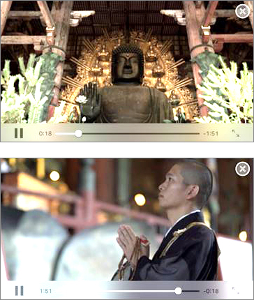 Figure 3; Example of visitor's guide movie screen<br />(Top) Explanation of the origins of the Great Buddha Hall at Tōdai-ji<br />(Bottom) Explanation of manners and practices at Tōdai-ji