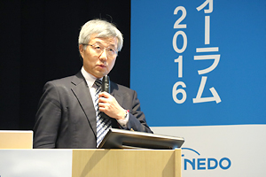 photo: Nagoya Institute of Technology Vice President Osamu Eryu delivering the keynote lecture