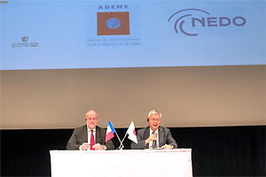 NEDO Chairman Furukawa  and President of ADEME Lechevin sitting side by side