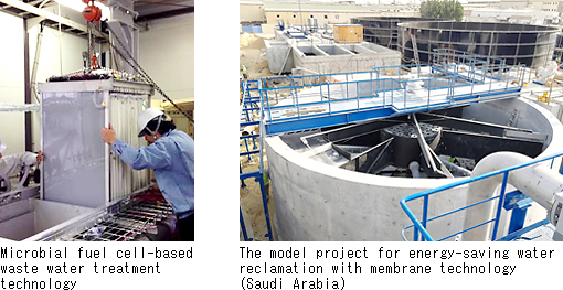 picter1: Microbial fuel cell-based waste water treatment technology,picter2: The model project for energy-saving water reclamation with membrane technology (Saudi Arabia)