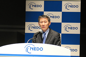 Deputy Director-General of METI Hosaka  at the podium
