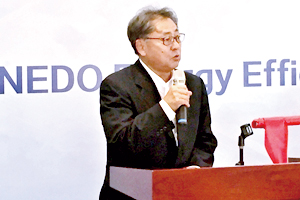 NEDO Executive Director Munehiko Tsuchiya giving his speech at the ceremony