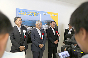 NEDO Chairman Furukawa being interviewed at the ceremony venue