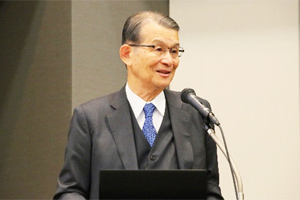 President of the Innovative Structural Materials Association (ISMA) Teruo Kishi giving his speech at the meeting