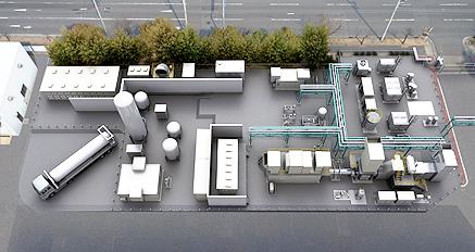 水素コジェネレーションシステムのプラントの俯瞰図(CG)