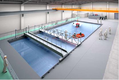 福島ロボットテストフィールド 屋内水槽試験棟 完成予想図を表した図2