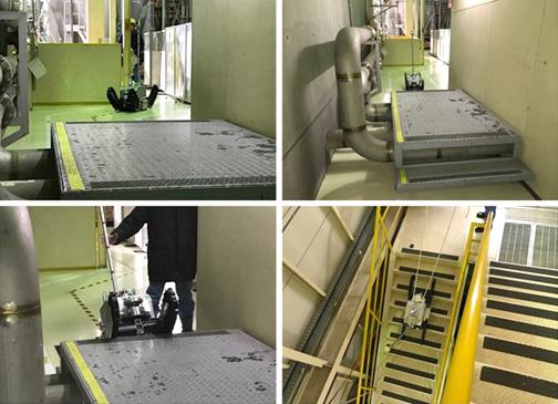 試験の様子(模擬プラント内の走行性能試験)の写真