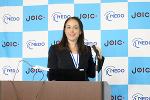 Noa Asher, Economic Minister of a head of the Economic and Trade Mission of the Israeli Embassy in Tokyo, giving her lecture during the first session of the event
