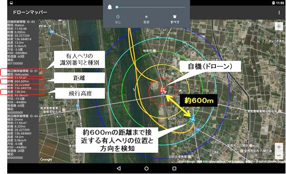 地上局タブレットの画面