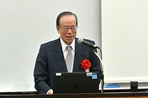 The former Prime Minister of Japan, Yasuo Fukuda, delivering a lecture at the workshop