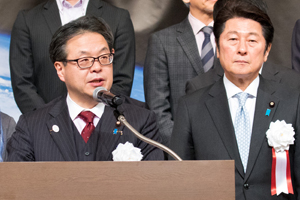 METI Minister Hiroshige Seko giving his speech at the ceremony