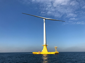 Barge-type floating offshore wind turbine system demonstrator of photo