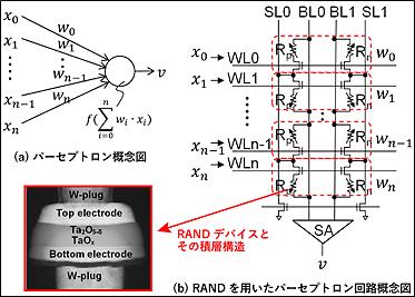 アナログ抵抗変化素子を用いたパーセプトロン回路の図