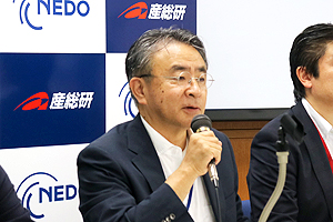 Photo of AIST Executive Director Mr. Tetsuhiko Kobayashi speaking at the press conference