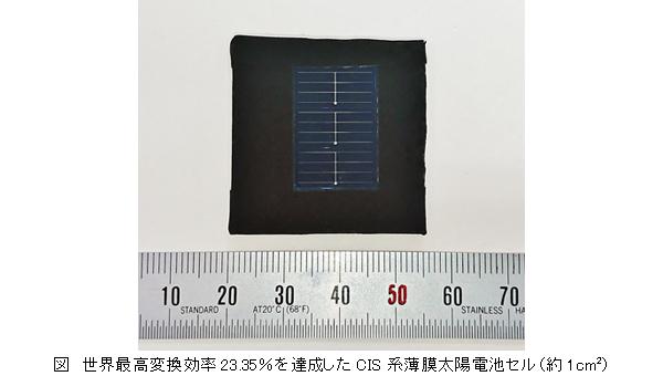 世界最高変換効率23.35%を達成したCIS系薄膜太陽電池セル