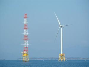銚子沖洋上風力発電実証設備(当時)を表した図