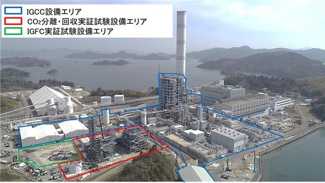 実証試験設備配置図(中国電力(株)大崎発電所構内)を表した図
