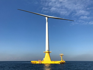 バージ型浮体式洋上風力発電システム実証機「ひびき」を表した図