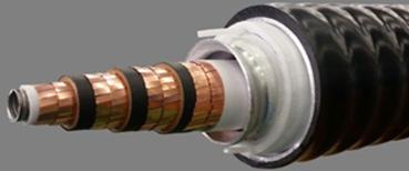 三相同軸超電導ケーブルを表した図