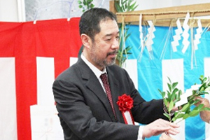 Photo of NEDO President Oikawa at completion ceremony