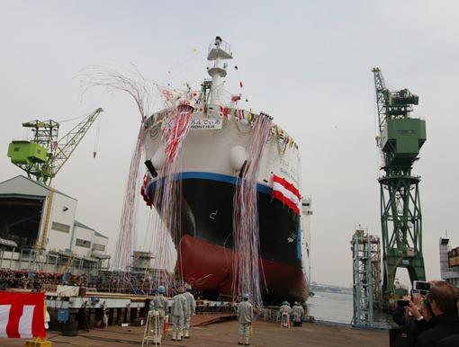 進水した液化水素運搬船を表した図