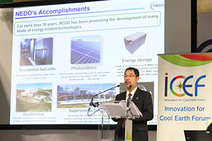 Photo of NEDO President Hiroshi Oikawa at the UNFCCC Official side event (ICEF)