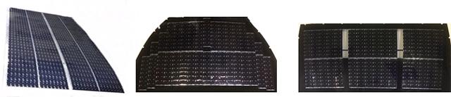 複数の太陽電池セルにより構成された太陽電池パネル。左からルーフ、フード、バックドア。